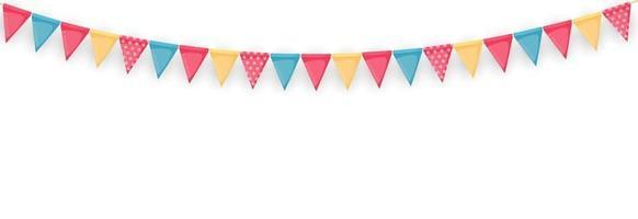 bannière avec guirlande de drapeaux et de rubans fond de fête de vacances pour le carnaval de fête d'anniversaire vecteur