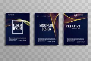 Illustration de conception flyer brochure brillante vague créative vecteur