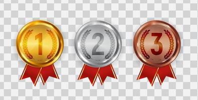 insigne de médaille d'or argent et bronze de l'icône première deuxième et troisième place vecteur