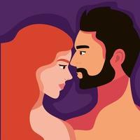 couple amoureux torse nu vecteur