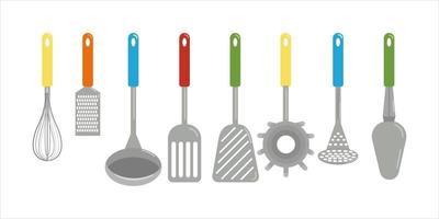 ensemble, de, différent, cuisine, spatules, et, cuillères, serviette, râpe, fouet, vecteur, clipart, dans, dessin animé, style, isoler, plat, illustration vecteur