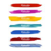 Scénographie de coups de pinceau aquarelle coloré vecteur