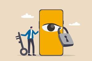 Confidentialité des données pour l'utilisateur Internet protéger l'application pour suivre ou suivre le concept de comportement de l'utilisateur homme tenant la clé après verrouiller l'œil espion sur le smartphone pour arrêter de regarder des informations privées vecteur