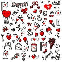 illustration de doodles.vector amour Saint Valentin dans le style de doodle. conception pour la Saint Valentin, mariage, cartes de voeux vecteur