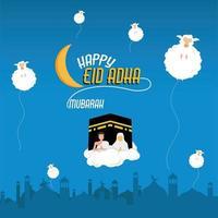 webeid al adha fond vecteur gratuit bleu avec mouton et kabah musulman