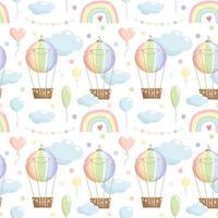 Modèle sans couture de couleur arc-en-ciel avec ballon à air chaud ballon arc-en-ciel guirlande de nuages sur fond blanc vecteur