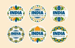 badges colorés pour la fête de l'indépendance de l'inde vecteur
