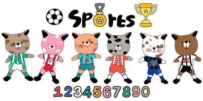 un motif de doodle de football de sport collection colorée vecteur