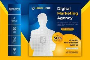 modèle de bannière de publication de médias sociaux d'agence de marketing numérique vecteur