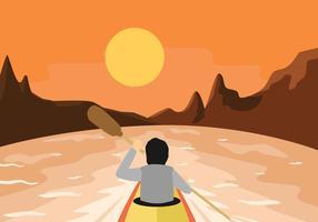 Kayak, première personne, vue, illustration vectorielle vecteur