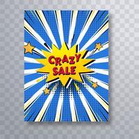 Modèle de brochure de vente fou de bande dessinée pop art coloré vecteur