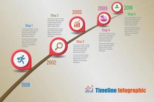 icônes d & # 39; infographie de chronologie de feuille de route commerciale vecteur
