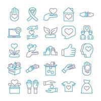 ensemble d'icônes de charité et de solidarité vecteur