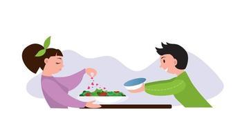 salade maison faite avec amour cuisine à la maison dîner romantique à la maison couple heureux datant illustration de dessin animé plat vecteur isolé sur fond blanc