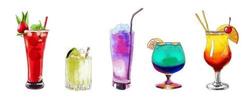illustration dessinée à la main d'un ensemble de cocktails vecteur