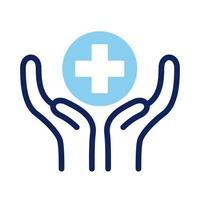mains levant la ligne dassurance médicale croisée vecteur