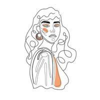 ligne continue, dessin de visage de femme, concept de mode, portrait abstrait minimaliste beauté femme. dessin continu d'une ligne. illustration vectorielle pour la journée de la femme fête des mères vecteur