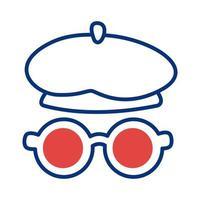 style de ligne béret et lunettes de style français vecteur