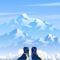 Vecteur de personne première paysage de montagne de glace