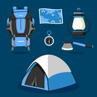 Camping fournitures Knolling Vector Set