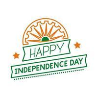 Independece day célébration de l'inde avec l'icône de style de ligne chakra ashoka vecteur