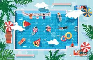 concept d & # 39; activité de natation d & # 39; été vecteur