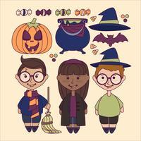 Éléments de Halloween mignons de vecteur