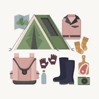 Collection de matériel de camping de vecteur