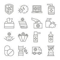 bundle of covid19 set d & # 39; icônes vecteur