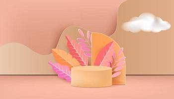 scène minimale abstraite avec des formes géométriques et un podium cylindrique vecteur