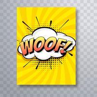 Pop art bande dessinée colorée woof brochure modèle de conception vecteur