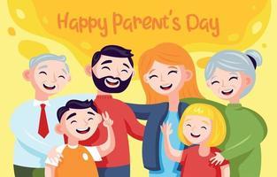 toute la famille célèbre la fête des parents vecteur