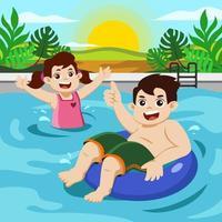 enfants heureux nageant à la piscine en été vecteur
