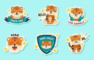autocollant mignon de l'activisme de la journée du tigre vecteur