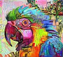 peinture portrait impressionniste abstrait perroquet vecteur