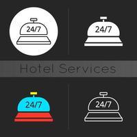 Icône de thème sombre de service de conciergerie 24 heures sur 24 vecteur