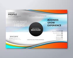 Conception moderne de modèle de brochure entreprise avec vague vecteur