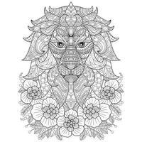lion dessiné à la main pour livre de coloriage adulte vecteur