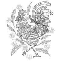 poulet dessiné à la main pour livre de coloriage adulte vecteur