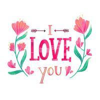 Lettrage mignon sur l'amour avec des fleurs autour