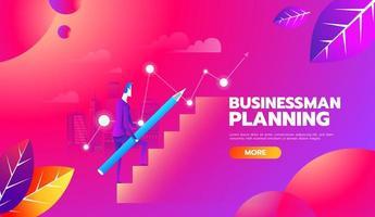 l'homme monte l'échelle de carrière avec un crayon pour la planification. concept de développement des affaires. design plat illustration vectorielle. pas à pas. vecteur