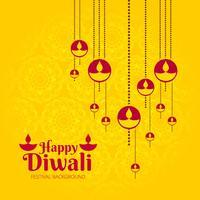 Conception de carte de voeux jaune joyeux Diwali vecteur