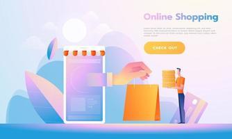 concept de magasinage en ligne design plat moderne. m-commerce, facile à utiliser et hautement personnalisable. concept d'illustration vectorielle moderne. vecteur