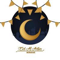 carte de célébration eid al adha avec lune et guirlandes vecteur