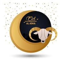 carte de célébration eid al adha avec lune et chèvre vecteur