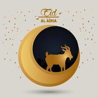 carte de célébration eid al adha avec lune et agneau vecteur
