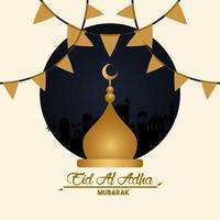 carte de célébration eid al adha avec cupule de la mosquée vecteur