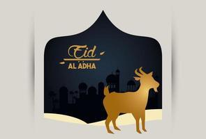 carte de célébration eid al adha avec chèvre dorée dans un cadre élégant vecteur