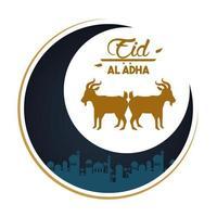 carte de célébration eid al adha avec lune et agneaux vecteur