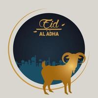 carte de célébration eid al adha avec chèvre dorée dans un cadre circulaire vecteur